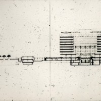Frank Mikutowski entry, City Hall and Square Competition, Toronto, 1958, longitudinal section drawing