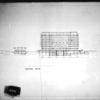 Frank Mikutowski entry City Hall and Square Competition, Toronto, 1958, longitudinal section of hall