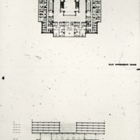 I. M. Pei & Associates entry City Hall and Square Competition, Toronto, 1958, floor plan and section drawing