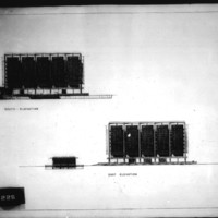 Frank Mikutowski entry City Hall and Square Competition, Toronto, 1958, south and east elevations