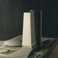 A-R4-24 - H F Pinto and R  Perez-Marchand entry_City Hall and Square Competition_Toronto_1958_architectural model.jpg