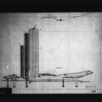 G. Simonetti and  P. Ranzani entry City Hall and Square Competition, Toronto, 1958, section A-B