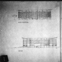 Michael Bach entry City Hall and Square Competition, Toronto, 1958, south elevation and section drawings