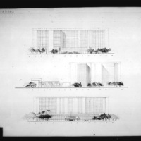 Z. K. Kaplan entry City Hall and Square Competition, Toronto, 1958, north, east and south elevations