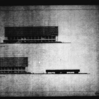 David Horne entry City Hall and Square Competition, Toronto, 1958, south and west elevations