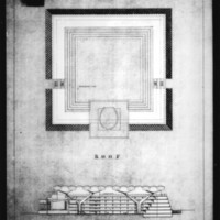 John H. Andrews entry City Hall and Square Competition, Toronto, 1958, plan of roof and north-south section drawing