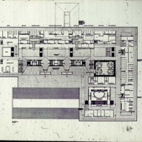 Halldor Gunnlogsson & Jorn Nielsen entry, City Hall and Square Competition, Toronto, 1958, main floor plan