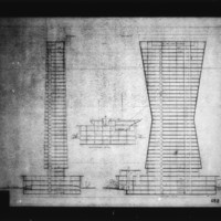 Raphael Galvao Jr. entry City Hall and Square Competition, Toronto, 1958, section drawings of office tower