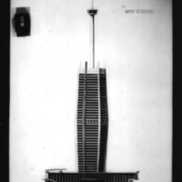 V. Radimski and E. Steflicek entry City Hall and Square Competition, Toronto, 1958, south elevation drawing