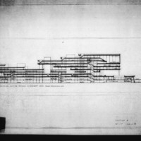 Paul Hamilton and John Bicknell entry City Hall and Square Competition, Toronto, 1958, longitudinal section drawing