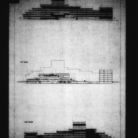 Tekne entry City Hall and Square Competition, Toronto, 1958, section and two elevation drawings