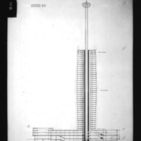 V. Radimski and E. Steflicek entry City Hall and Square Competition, Toronto, 1958, south-north section drawing