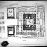 Frank Mikutowski entry City Hall and Square Competition, Toronto, 1958,  plan of hall and square