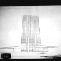 H. F. Pinto and R. Perez-Marchand entry City Hall and Square Competition, Toronto, 1958, section drawing of office tower