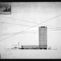 Martha and Ragnar Ypya entry City Hall and Square Competition, Toronto, 1958, perspective drawing of entrance hall and elevation to the south