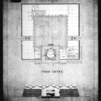 John H. Andrews entry City Hall and Square Competition, Toronto, 1958, plan of first level and south elevation