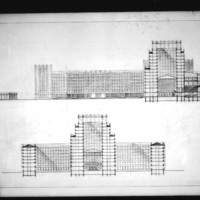 L. Kurpatow entry City Hall and Square Competition, Toronto, 1958, section drawings