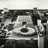 John H. Andrews entry, City Hall and Square Competition, Toronto, 1958, architectural model in situ