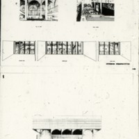 I. M. Pei & Associates entry, City Hall and Square Competition, Toronto, 1958, three perspective drawings and arch detail
