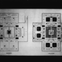 Perkins & Will entry City Hall and Square Competition, Toronto, 1958, floor plan of basement and concourse
