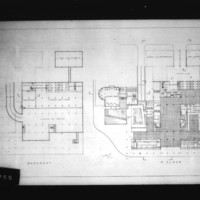Leslie Forster entry City Hall and Square Competition, Toronto, 1958, basement and first floor plans