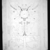 Z. K. Kaplan entry City Hall and Square Competition, Toronto, 1958, floor plan of hall and square with dance floor and orchestra pit