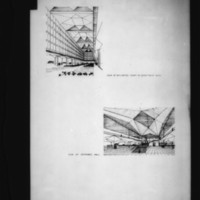D. R. McMullin entry City Hall and Square Competition, Toronto, 1958, perspectives of interior