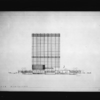 John C. Parkin entry City Hall and Square Competition, Toronto, 1958, south elevation