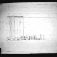 A. Meyer entry City Hall and Square Competition, Toronto, 1958, elevation to Queen Street