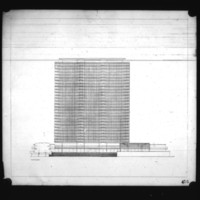 Halldor Gunnlogsson & Jorn Nielsen entry City Hall and Square Competition, Toronto, 1958, south elevation