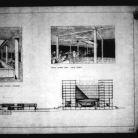 David Horne entry City Hall and Square Competition, Toronto, 1958, section drawing and perspective drawing of council chamber and main lobby