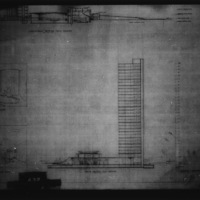 Takeo Ito entry City Hall and Square Competition, Toronto, 1958, longitudinal section thru square, cross section thru square, conceptual sketches of council chamber and of lobby looking east, part 2 of 2