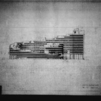 Paul Hamilton and John Bicknell entry City Hall and Square Competition, Toronto, 1958, south elevation drawing