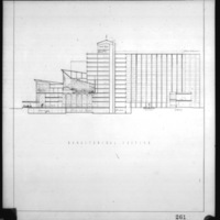 C. C. Wilkie entry City Hall and Square Competition, Toronto, 1958, longitudinal section