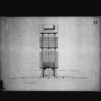 G. Subiotta entry City Hall and Square Competition, Toronto, 1958, south elevation drawing