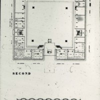 John H. Andrews entry City Hall and Square Competition, Toronto, 1958, floor plan and section