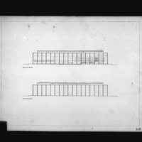 Dimitri Dimakopoulos entry City Hall and Square Competition, Toronto, 1958, front and rear elevation drawings