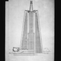 Josef Havlicek entry City Hall and Square Competition, Toronto, 1958, section drawing