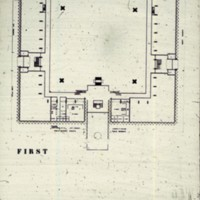 John H. Andrews entry City Hall and Square Competition, Toronto, 1958, first floor plan