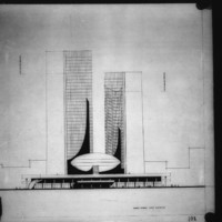 Viljo Revell entry City Hall and Square Competition, Toronto, 1958, Queen Street West elevation