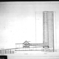 Balkrishna V. Doshi entry City Hall and Square Competition, Toronto, 1958, section through council chamber