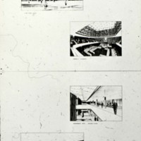 David Horne entry,  City Hall and Square Competition, Toronto, 1958, four perspective drawings