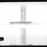 Huson Jackson and Jacqueline Tyrwhitt entry City Hall and Square Competition, Toronto, 1958, west elevation and section looking east, part 1 of 2