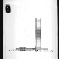 Charles B. K. Van Norman entry City Hall and Square Competition, Toronto, 1958, section drawing