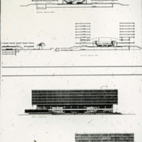 David Horne entry,  City Hall and Square Competition, Toronto, 1958, section and elevation drawings