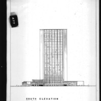 Charles B. K. Van Norman entry City Hall and Square Competition, Toronto, 1958, south elevation drawing