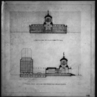 Cass Gilbert Jr. entry City Hall and Square Competition, Toronto, 1958, longitudinal section thru city hall, transverse section thru office building & city hall