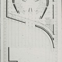 Viljo Revell entry, City Hall and Square Competition, Toronto, 1958, architectural drawing of hall and square, stage two